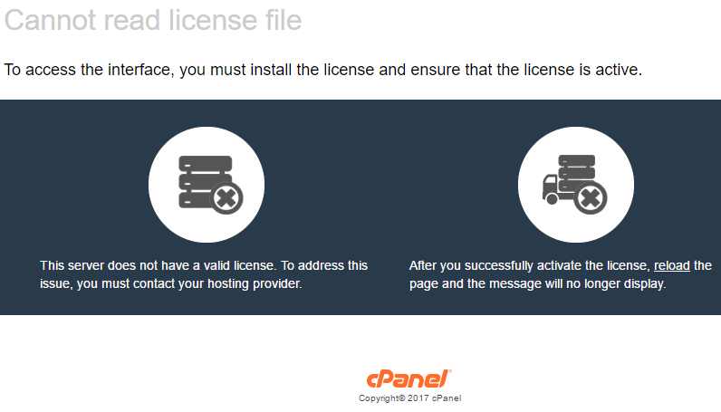 license error cpanel whm