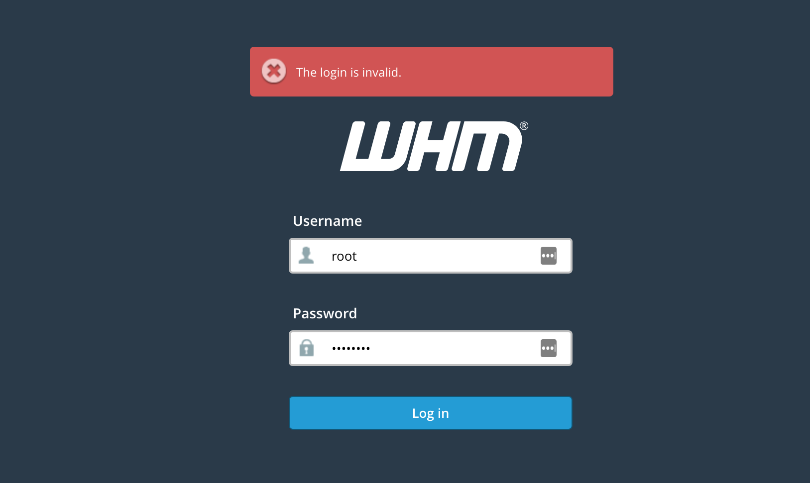 The login is invalid error in WHM Panel - Knowledgebase
